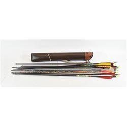 Brown Leather Belt Quiver & 11Carbon Fiber Arrows