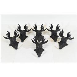 6 Cast Iron Moose Head Coat Hangers