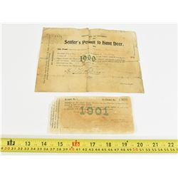 1900-1901 Ontario Hunting Licenses