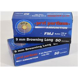 100 Rounds Prvi Partizan 9mm Browning long 108gr