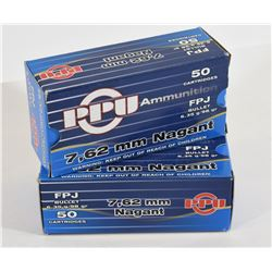 100 Rounds PPU 7,62mm Nagant 98gr FPJ
