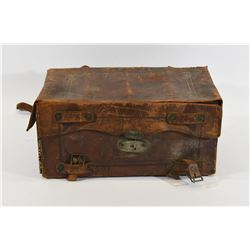 Antique Leather Metal Lined Ammunition Box