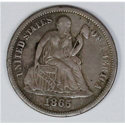 RARE P MINT 1865 SEATED DIME