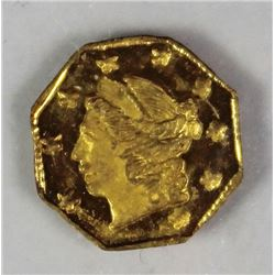 CALIFORNIA TERRITORIAL GOLD .25 OCTAGON 1867