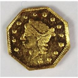 CALIFORNIA TERRITORIAL GOLD OCTAGON .25 1870