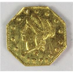 CALIFORNIA TERRITORIAL GOLD .25 1871G OCTAGON
