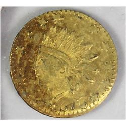 CALIFORNIA TERRITORIAL GOLD .25 ROUND 1876