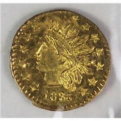 CALIFORNIA TERRITORIAL GOLD .25 ROUND 1880/76