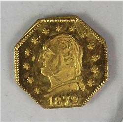 1872 WASHINGTON HEAD CALIFORNIA GOLD CHARM .25