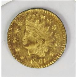 1881 CALIFORNIA GOLD TOKEN 1/2 F. ROUND .50