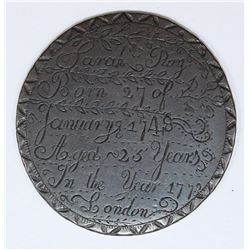 BEAUTIFULLY HAND ENGRAVED FUNERAL TOKEN 1773