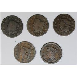 5 LARGE CENTS 1822-1843