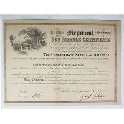 1865 $1000 CONFEDERATE WAR BOND