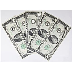 (5) 1934C $10 NOTES