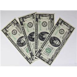 (4) CONSECUTIVE 1934A $20