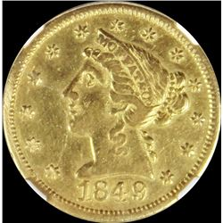 1849 $5 MOFFAT & CO GOLD NGC AU 50
