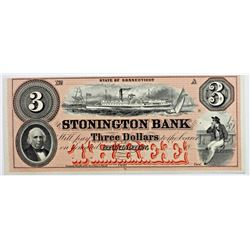 1850'S $3 STONINGTON BANK CONNECTICUT