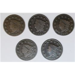LOT OF FIVE 1822 CENTS