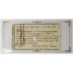 RARE 1786 BEARER TREASURY CERTIFICATE BOSTON