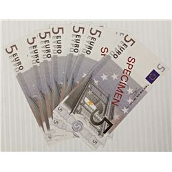 LOT OF 10 PROTOTYPE SPECIMEN 5 EURO NOTES