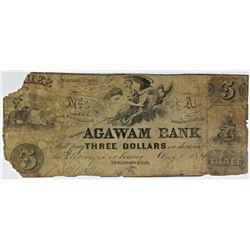 AGAWAM BANK $3 SPRINGFIELD MASS UNLISTED