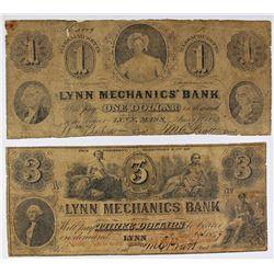 LYNN MECHANICS BANK $1 AND $3 1862