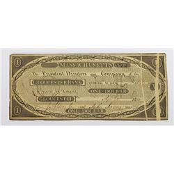 1815 $1 GLOUCESTER BANK MASS. UNIQUE