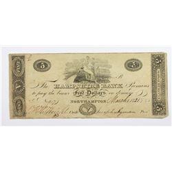 1821 HAMPSHIRE BANK $5 NORTHAMPTON MA.