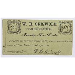 UNLISTED 1862 .25 CIVIL WAR SCRIP