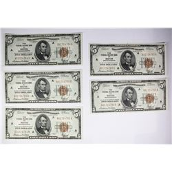 5 CONSECUTIVE. $5 NATL. SER. OF 1929 BROWN SEALS
