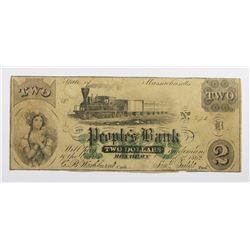 VERY RARE 1862 $2 THE PEOPLES BANK ROXBURY, MASS.