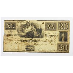 1861 $20 BANK OF MONROE MICHIGAN