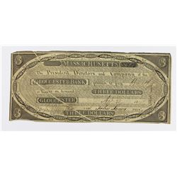 VERY RARE GLOUCESTER BANK $3 1815 MASS.