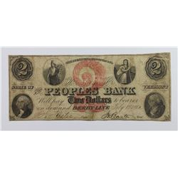 1860'S $2 PEOPLS BANK DERBY LINE VT