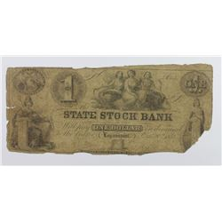 1852 $1 STATE STOCK BANK INDIANA