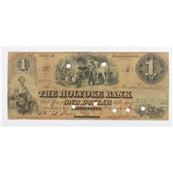$1 HOLYOKE BANK 1862 MASSACHUSETTS