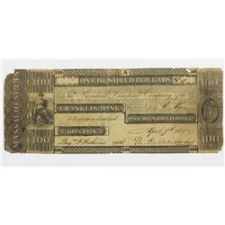 1835 $100 FRANKLIN BANK BOSTON