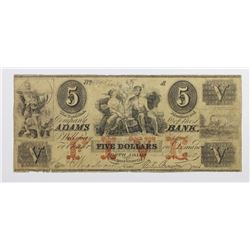 1862 $5 ADAMS BANK. NORTH ADAMS MASS.
