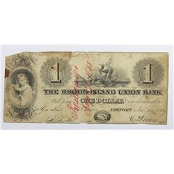 1849 $1 RHODE ISLAND UNION BANK