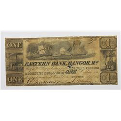 1837 $1 EASTERN BANK OF BANGOR, MAINE