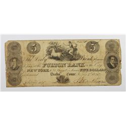 1825 $5 FULTON BANK, NEW YORK