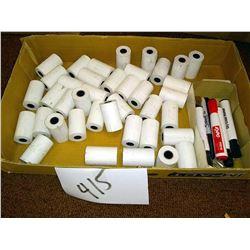 LOT OF MINI CARD MACHINE / CALCULATOR ROLLS & MARKERS
