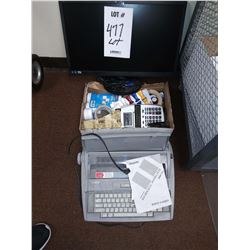 ELECTRIC TYPEWRITER, AOC MONITOR, ADDING MACHINE, PAPER ROLLS