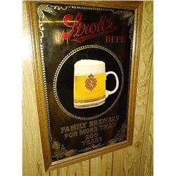 Vintage Stroh's Beer Mirror Advertising Sign