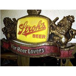 Vintage Stroh's Beer Lighted 3-D Pub Sign