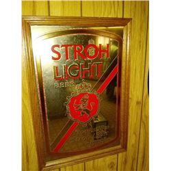 Vintage Stroh Light Beer Mirror Advertising Sign