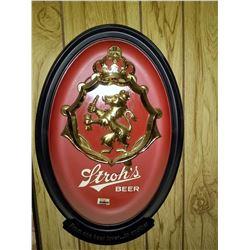 Vintage Stroh's Beer Lion Crest Bar Sign