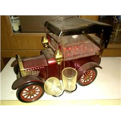 Vintage 1918 Ford Model A Truck Metal & Glass Liquor Decanter, w/ Pair of Shot Glasses
