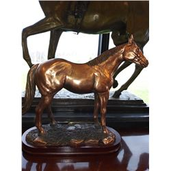 SOLID / COPPER FINISH STANDING QUARTER HORSE STATUE ON WOOD BASE