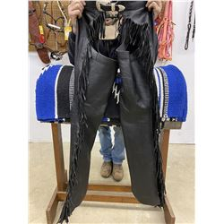 CUSTOMS by JEAN -BLK LEATHER SHOW CHAPS / LADIES